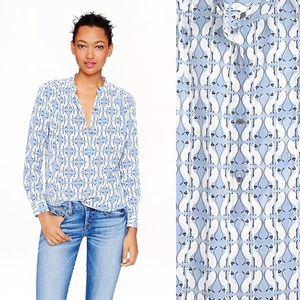J Crew retail Siamese cat print button down shirt
